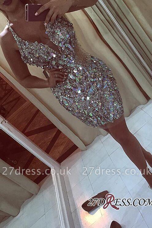 Halter-Neck Bling Crystals Sheath Short Elegant Short Homecoming Dress UKes UK
