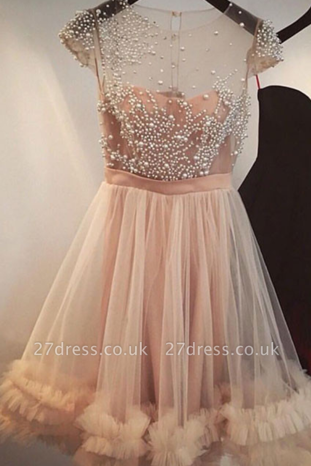 Tulle A-line Beading Capped-Sleeves Sheer Champagne Homecoming Dress UKes UK