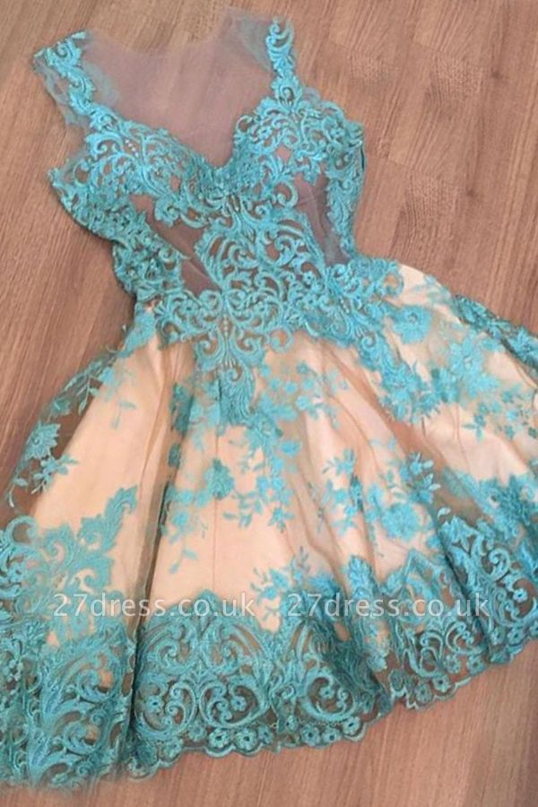 Short Tulle Sleeveless Appliques A-Line Newest Homecoming Dress UK