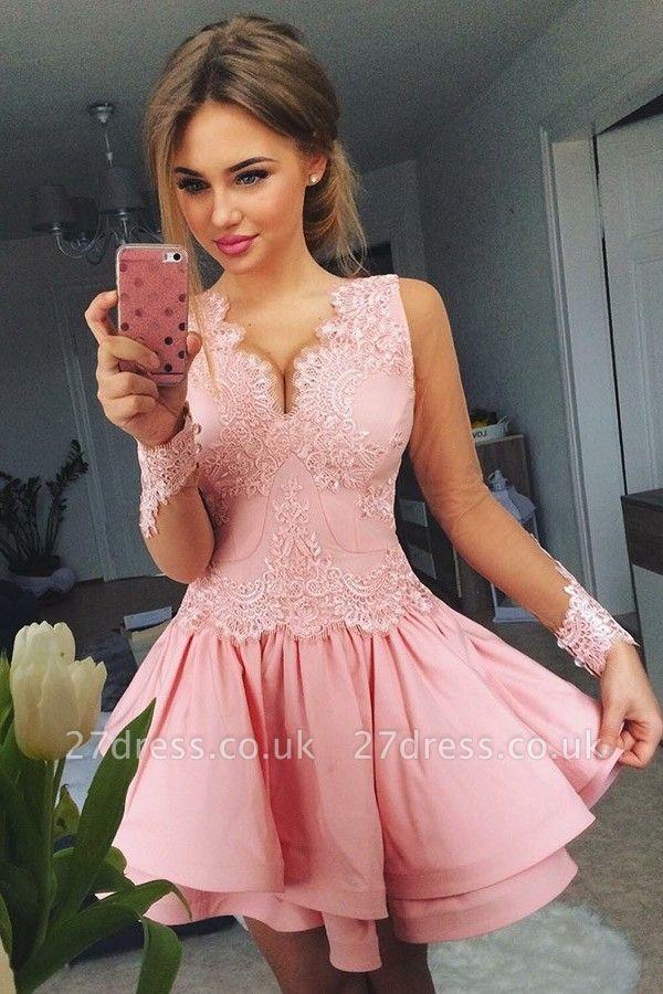 Lovely Pink Short Prom Dress UK | Lace Homecoming Dress UK