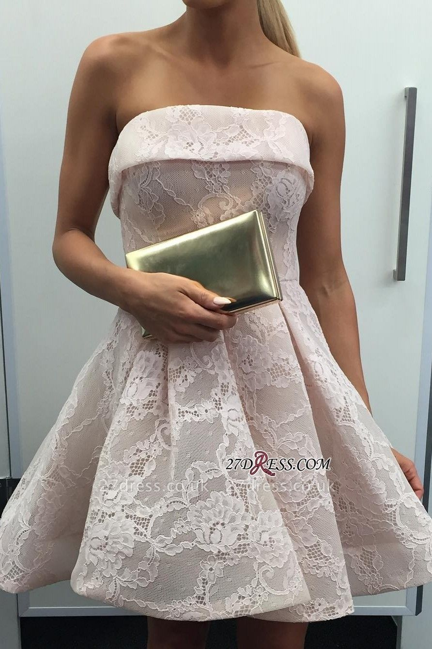 Strapless lace short homecoming Dress UK, short prom Dress UK