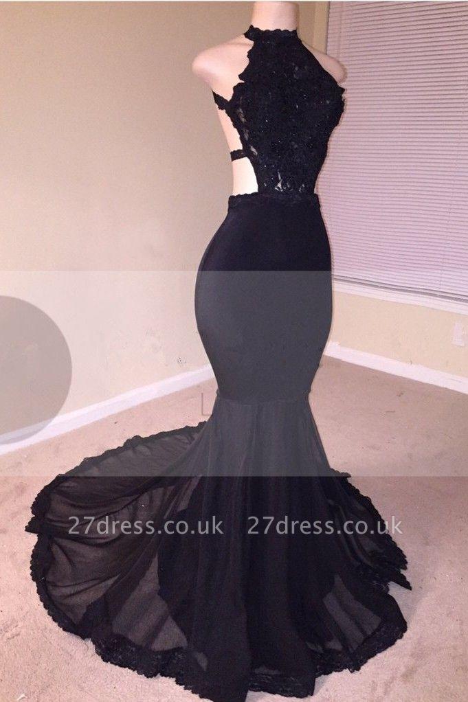 Black Lace Prom Dress UK | Halter Party Dress UK With Appliques  BA8130