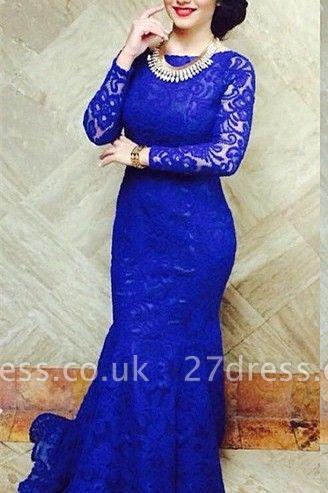 Modern Royal Blue Mermaid Lace Prom Dress UK Open Back