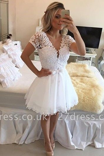 Lovely Short Sleeve White Homecoming Dress UK Lace Short Pearls BT0