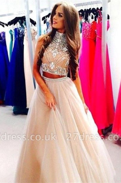 Luxury Two Pieces High-Neck Prom Dress UKes UK Beadings tulle A-Line
