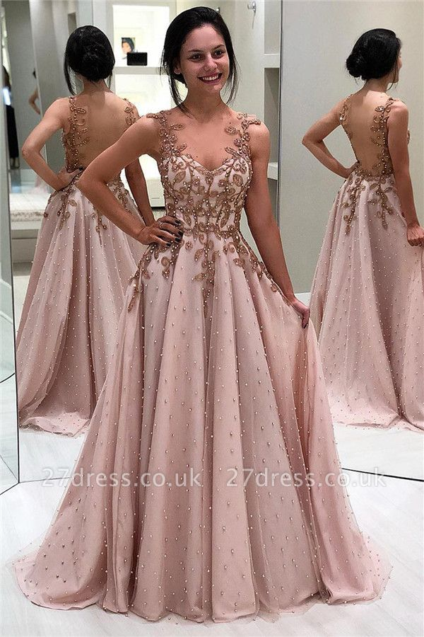 Elegant Appliques Beaded Sleeveless Evening Gown | Open Back Cheap Prom Dresses UK