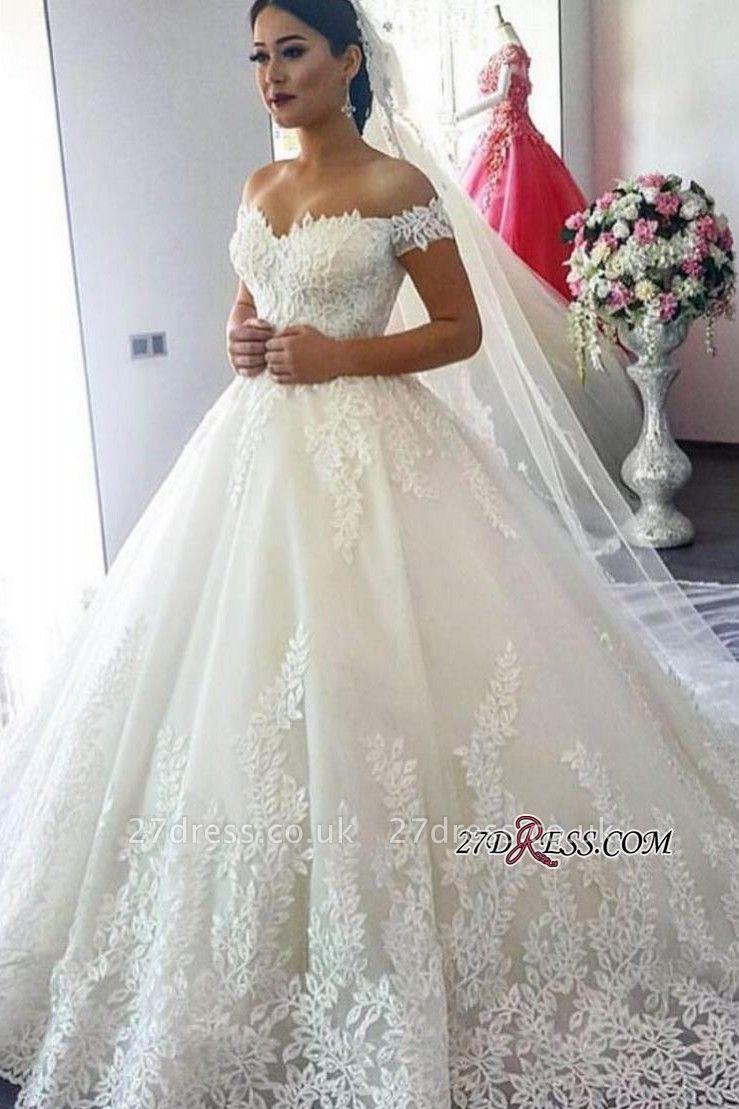 Short Sleeve A-Line Applique Lace Off-the-Shoulder Wedding Dress