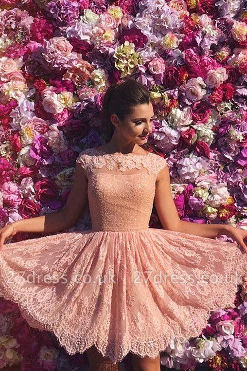 Pink Lace Jewel Sleeveless Open-Back Short Homecoming Dress