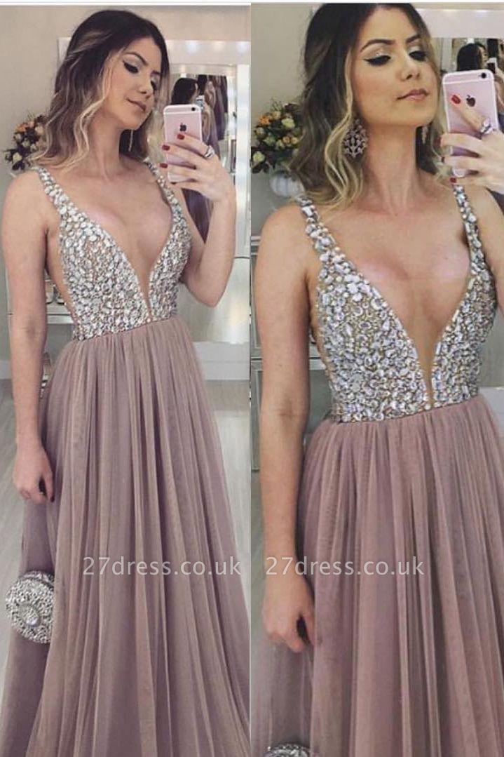 Unique V-Neck Straps Sleeveless A-Line Tulle Prom Dress UK UK