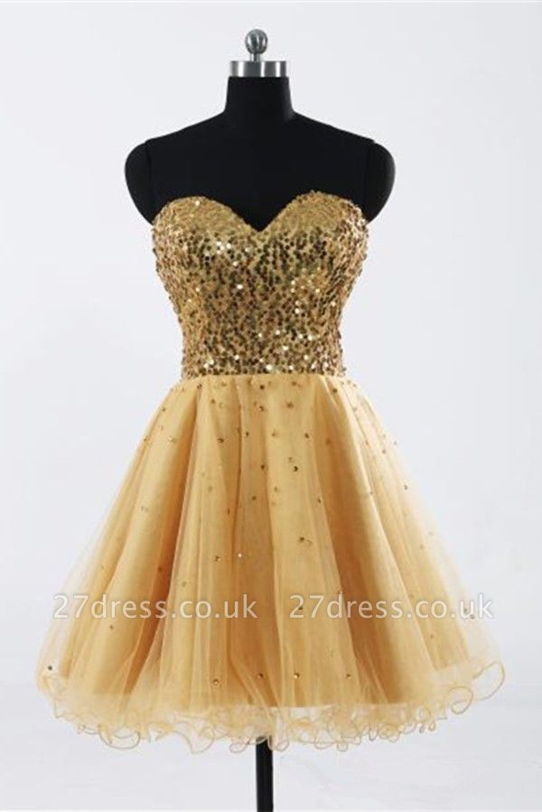 Gorgeous Sweetheart Sleeveless Short Homecoming Dress UK With Sequins LF17155