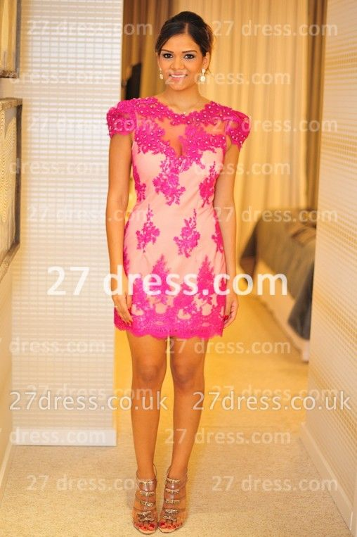 Formales Short Lace Prom Dress UKes UK New Arrival Cocktail Gowns Sexy Sleeves Sheer Fushcia Short Vestidos De Fiesta