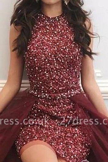 Beadings Sleeveless Short Prom Dress UK | Ruffles Evening Gowns On Sale