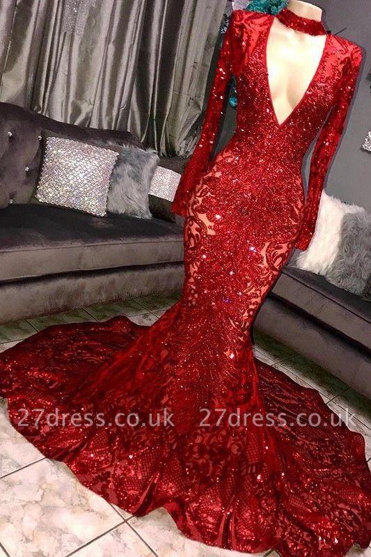 Amazing Elegant Mermaid Long Sleeves Seductive Deep Sexy V-Neck Lace Applique Prom Dress UKes UK UK