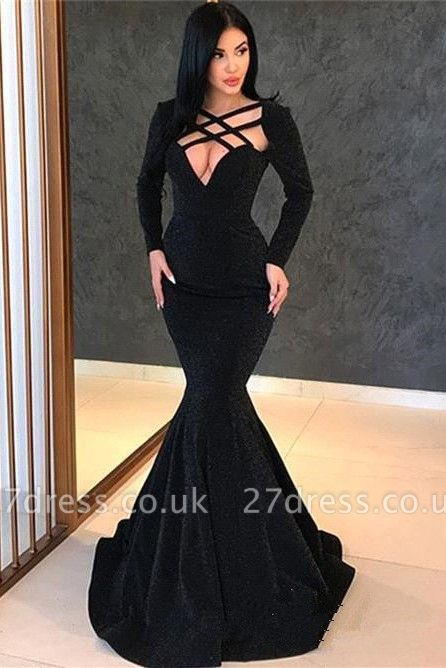 Elegant Hot Long Sleeves Elegant Mermaid Sweep Train Prom Dress UK UK