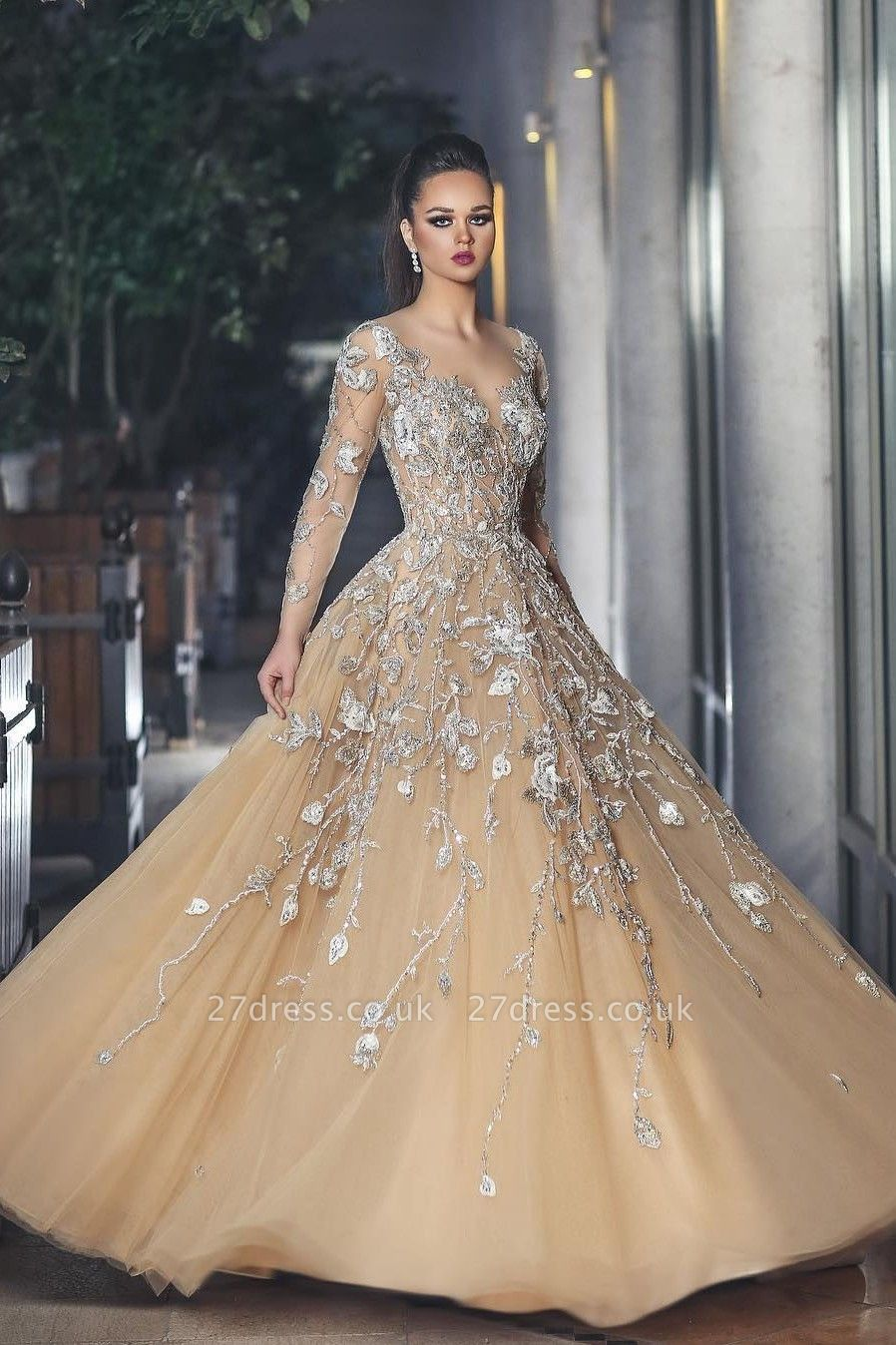 Gorgeous Long Sleeve Evening Dress UK Tulle With Lace Appliques BA8501