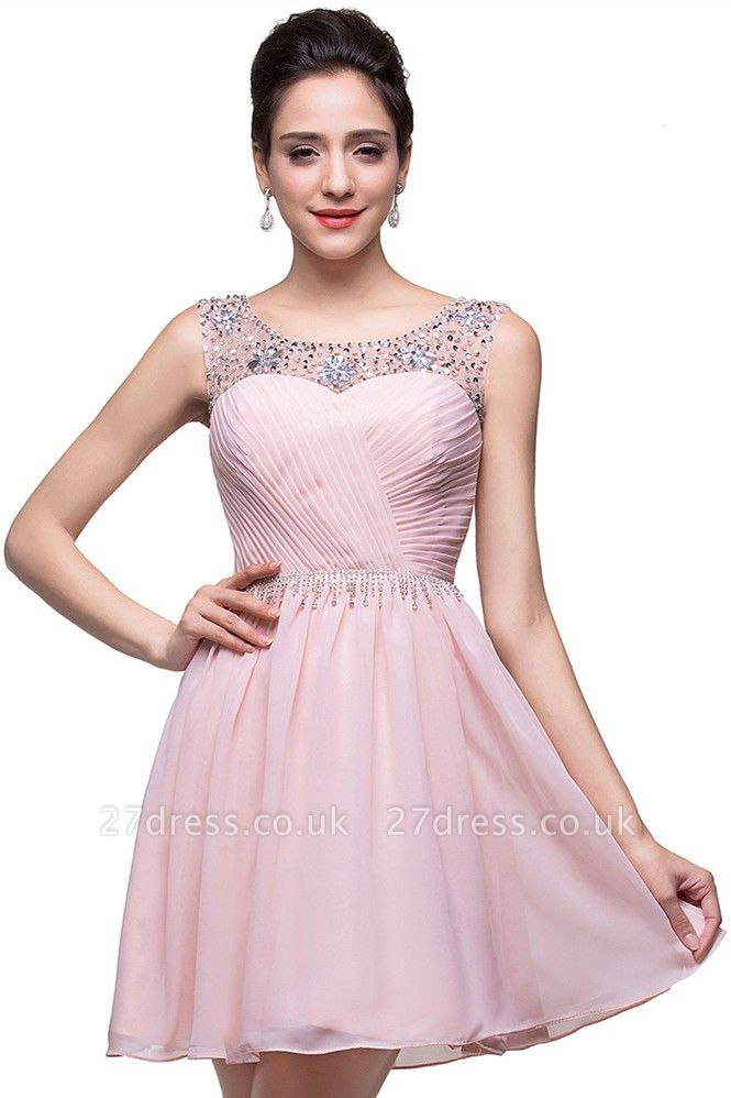 Gorgeous Sleeveless Crystal Short Homecoming Dress UK Chiffon