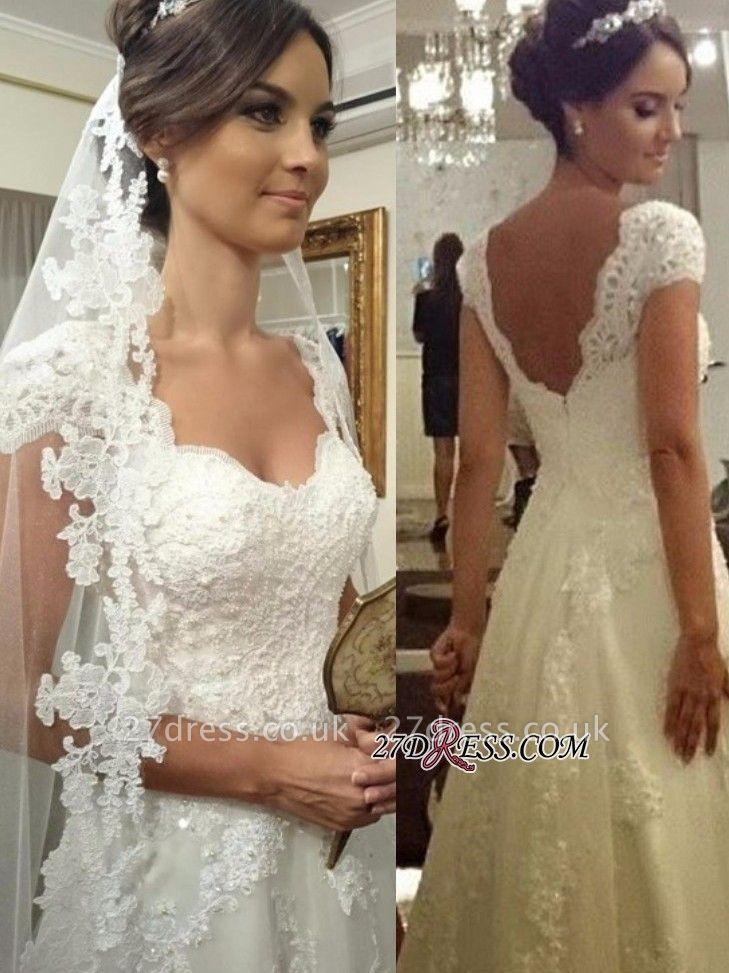 A-line Straps Lace Short-sleeves Modern Zipper Wedding Dress