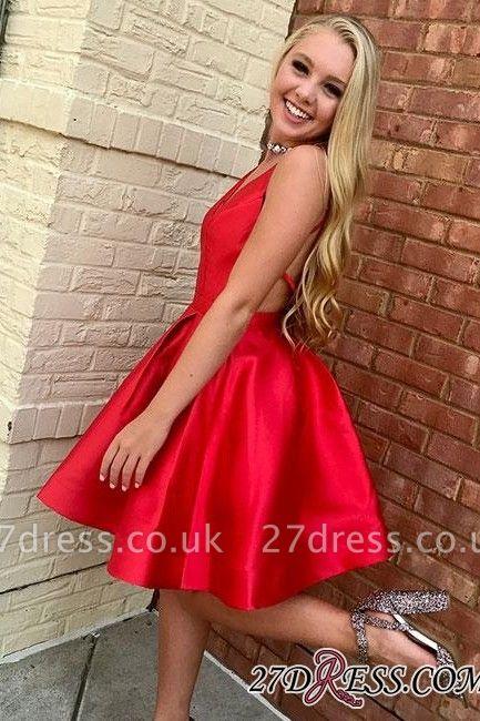 Simple Red Short A-line Sleeveless V-neck Evening Dress UK
