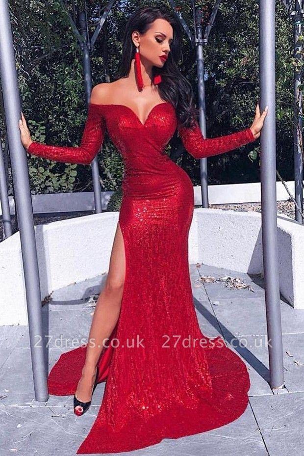 Unique Long Sleeves Column Front Split Prom Dress UK UK