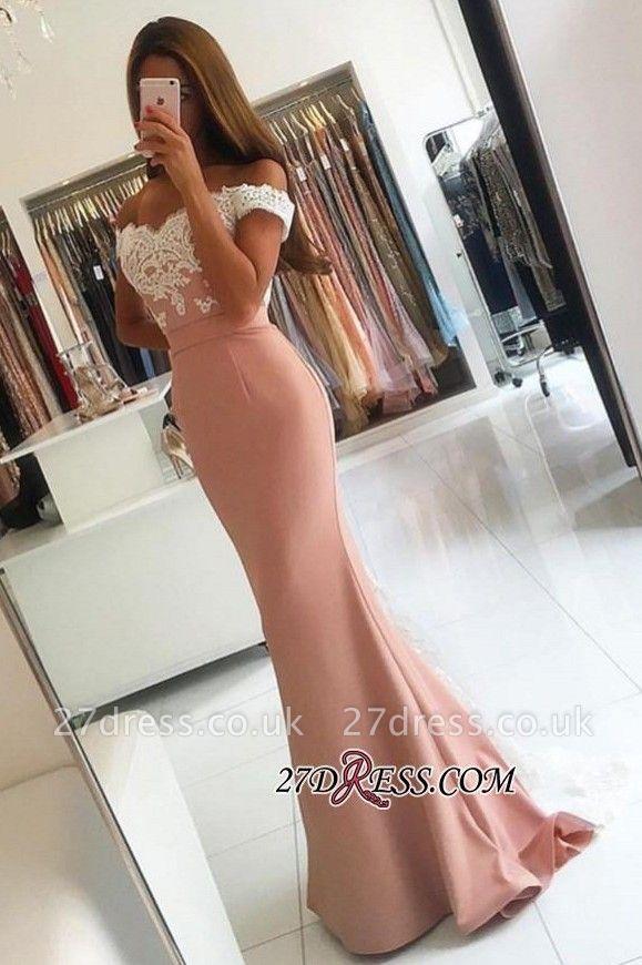 Off-the-shoulder Lace-Appliques Long Modern Mermaid Prom Dress UK BA4464