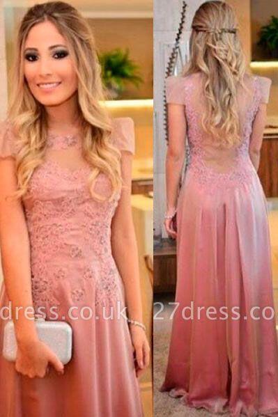 Short-sleeves Floor-length Appliques Sheath-Column Evening Dress UK