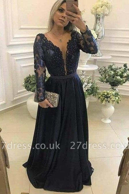 Luxury Long Sleeve Navy Evening Dress UK Lace Beadings Womens Party gowns