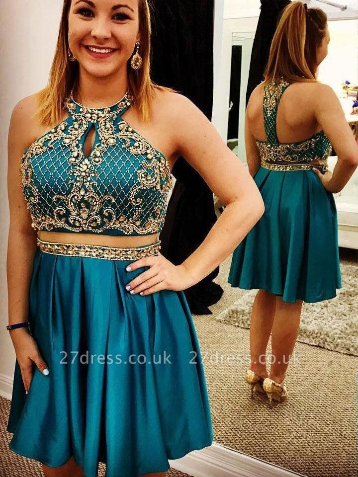 Two Piece Open Back Beading Appliques Sleeveless Short Evening Dress UK