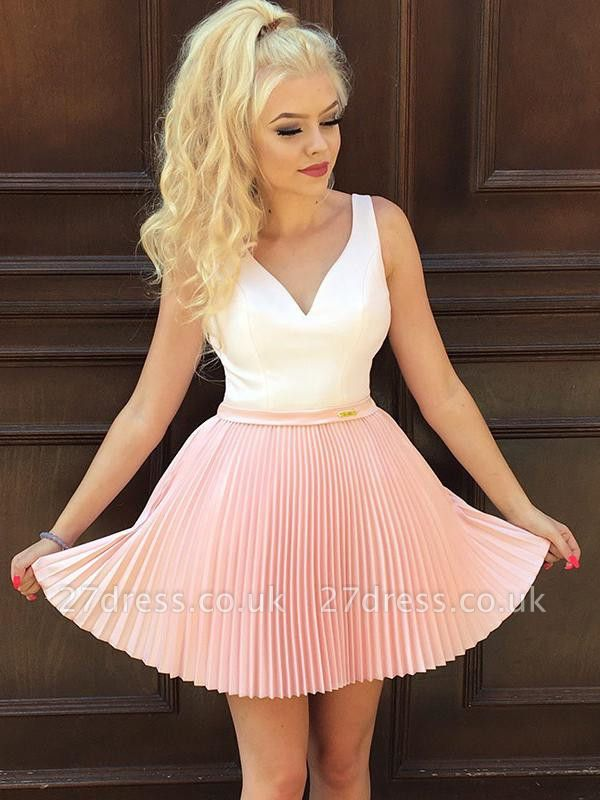 Straps V-Neck Ruffles Formal Dresses | Cheap Sexy Short Evening Dress