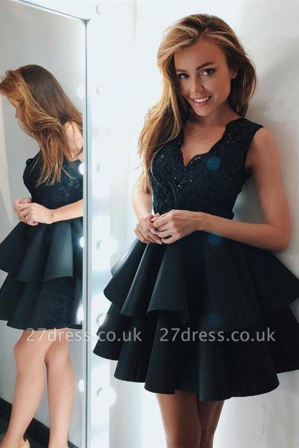 Sexy V-Neck Sleeveless Short Homecoming Dress UK | 2019 Lace Short Party Dress UK