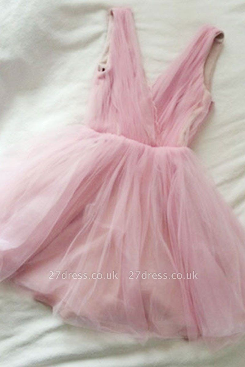 Tulle Cute Short Simple Pink V-neck Homecoming Dress UK