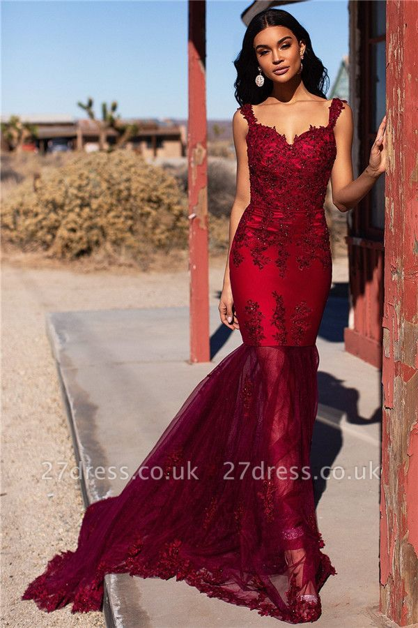 Burgundy Evening Gowns Cheap | Straps Appliques Tulle Mermaid Prom Dresses UK