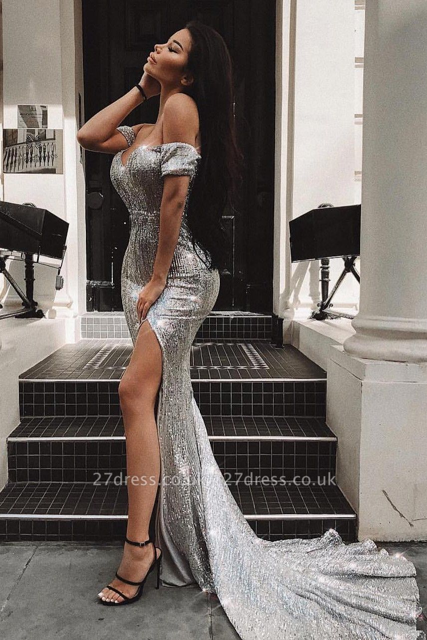 Elegant Hot Off-the-Shoulder Sleeveless Column Front Split Prom Dress UK UK