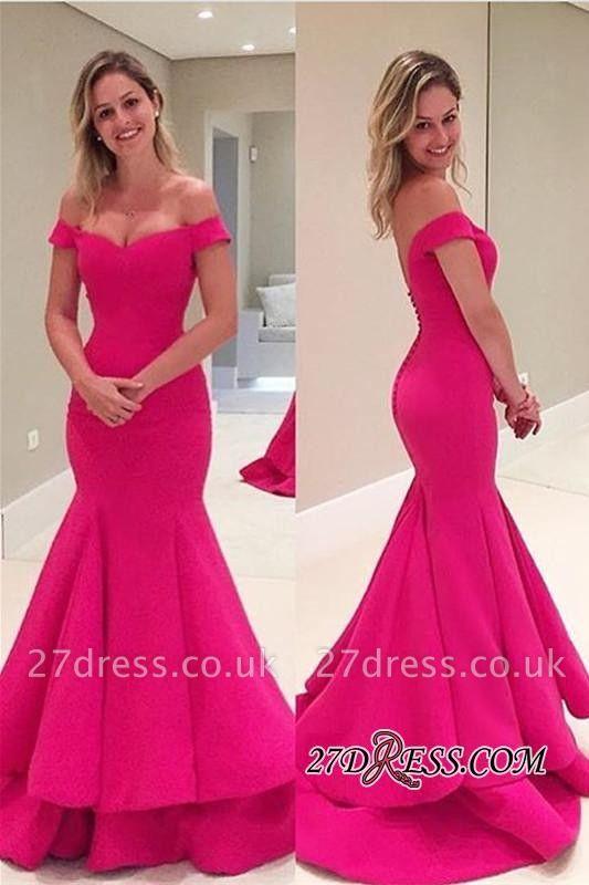 Sleeves Fuchsia Short Mermaid Off-The-Shoulder Prom Dress UK