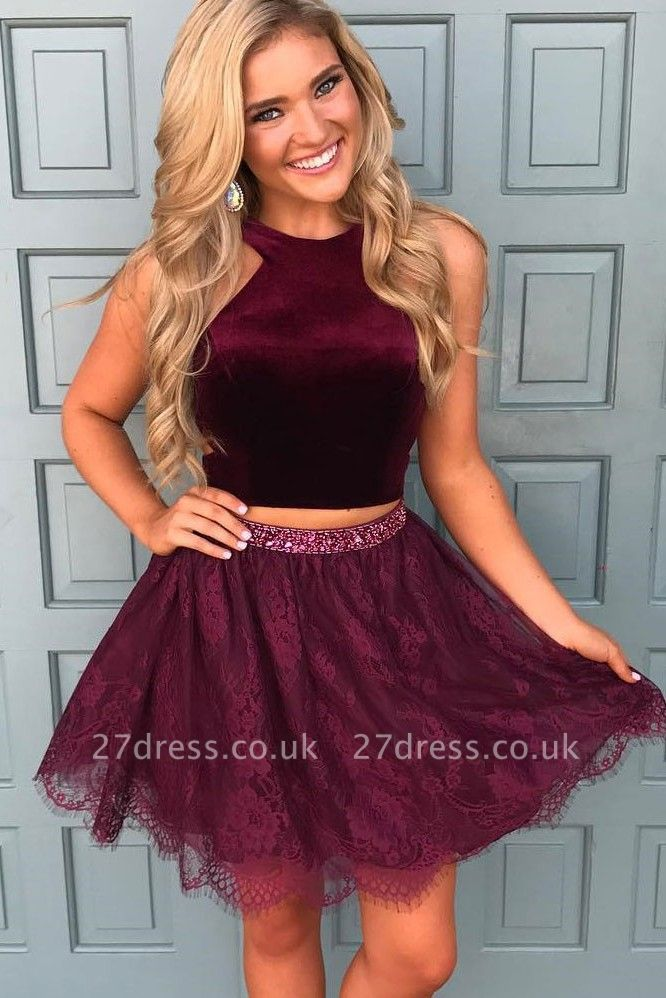 Beautiful Two Pieces Burgundy Lace Homecoming Dress UK Short With Sequins BA7014