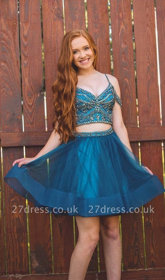 Illusion Organza Two-Pieces Beading Homecoming Dress