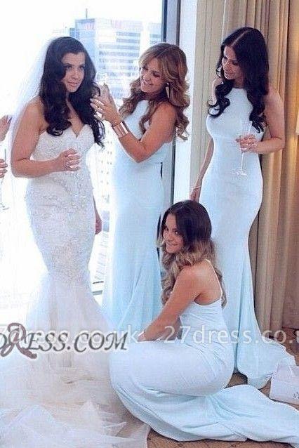 Sexy Sleeveless Mermaid Bridesmaid Dress UK Halter Floor-length On Sale