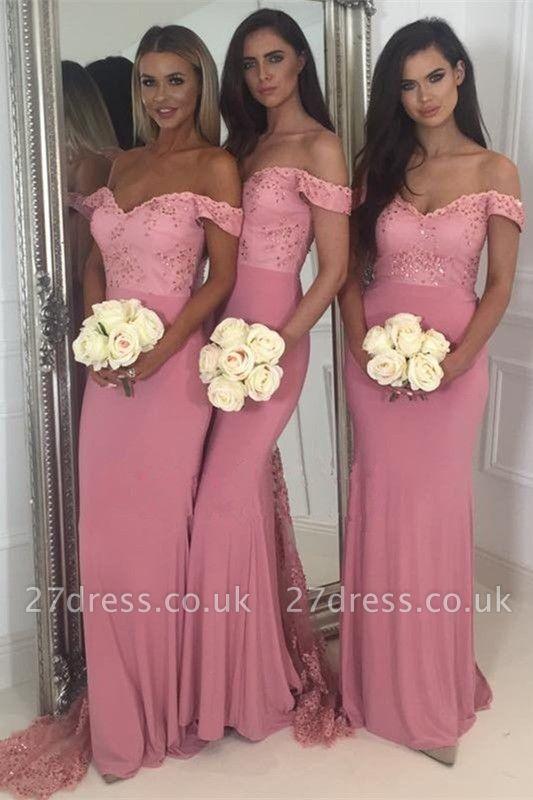 Off-the-Shoulder Pink Bridesmaid Dress UK | 2019 Mermaid Long Lace Bridesmaid Dress UKes UK