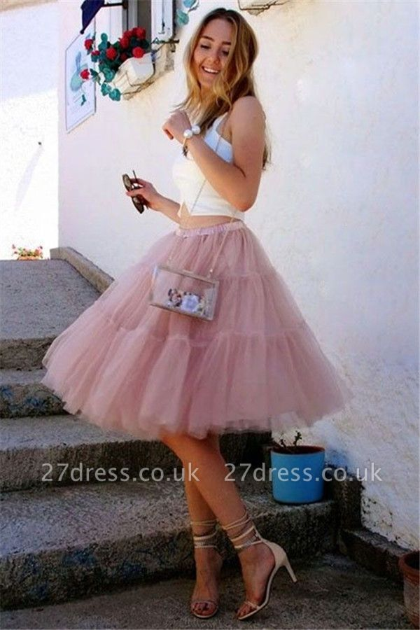 Lovely Two Piece Summer Party Dress | Tulle Sleeveless Short Evening Dress UK