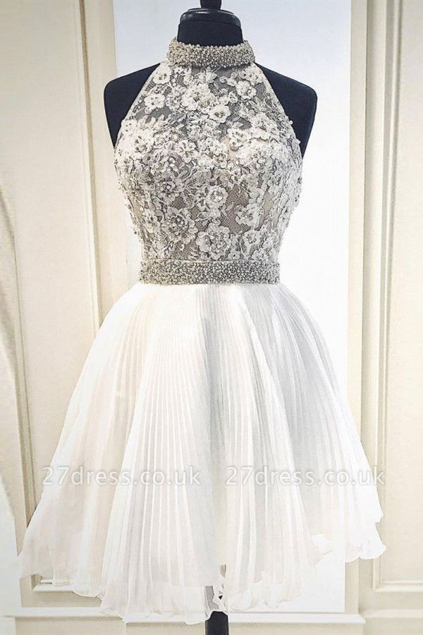 High Neck Beaded Knee Length Party Dresses | Sleeveless Short Evening Dress UK