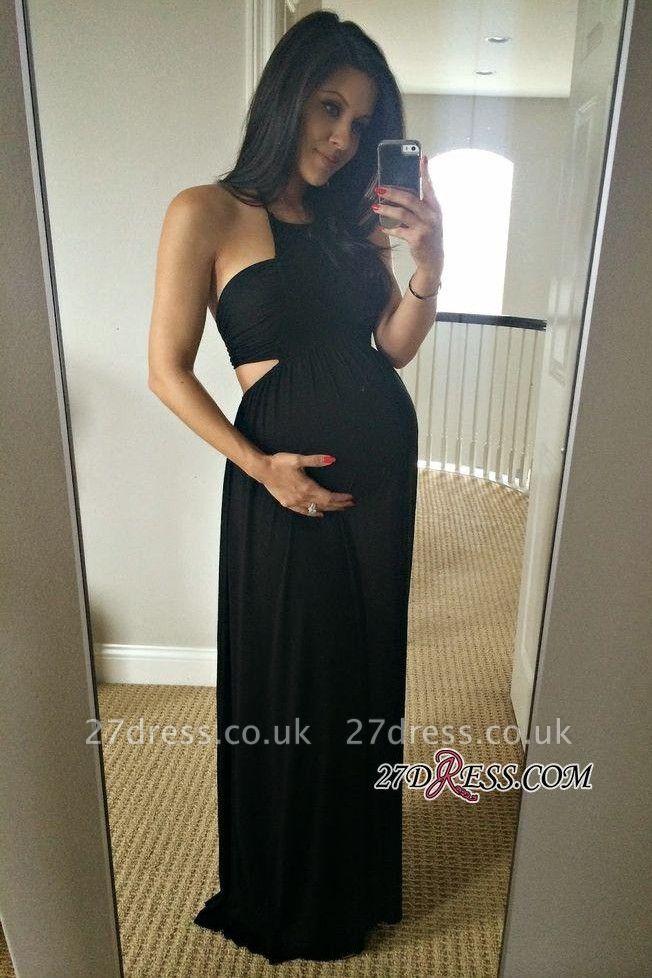 Long Black Sleeveless Elegant Halter Maternity A-line Prom Dress UK