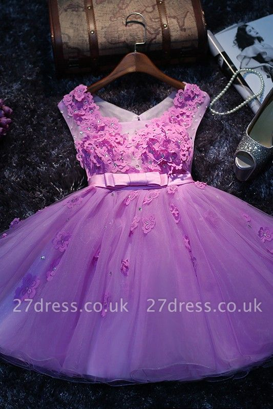 Lovely Sleeveless Appliques Short Prom Dress UKes UK Tulle Homecoming Dress UK