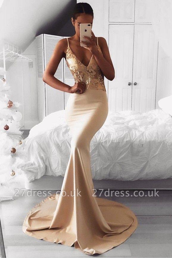 Elegant Spaghetti Strap Gold Sequined Prom Dress UK | Mermaid Prom Dress UK BA9015