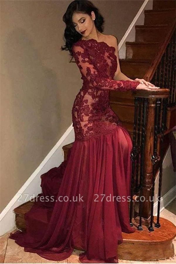 Sexy Tulle Lace One Shoulder Prom Dresses | Long Sleeve Burgundy Evening Dress UK