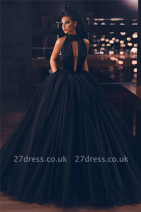 Sexy Keyhole High Neck Black Prom Dresses | Sleeveless Fluffy Tulle Evening Dresses UK