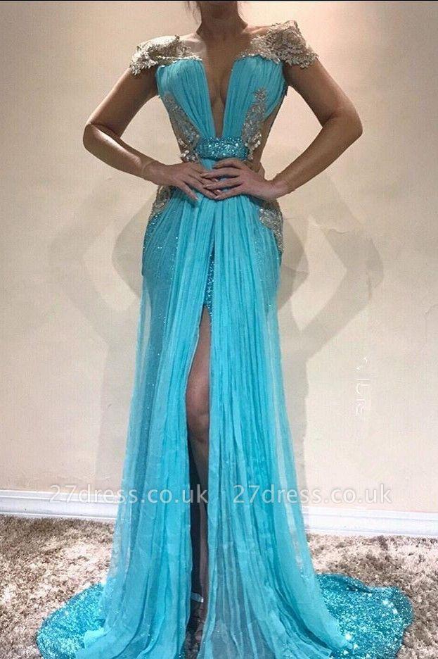 Sexy Blue Cap Sleeve Evening Dress UK | Sequins Slit Prom Dress UK