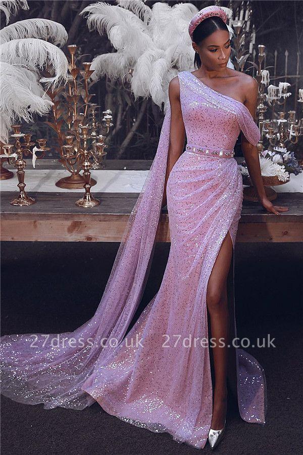 Sparkling Sequins One Shoulder Prom Dresses | Sexy Slit Long Train Evening Dress UK