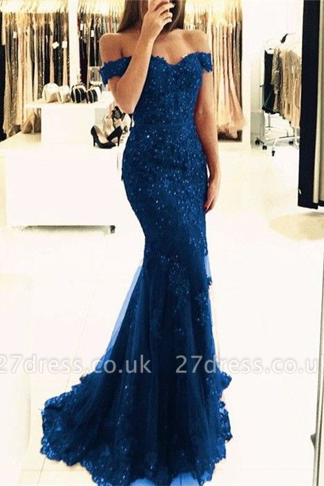 Off-the-Shoulder Prom Dress UK | Lace Appliques Evening Gowns