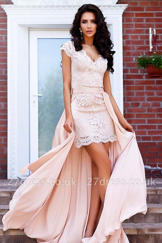 Stunning Cap Sleeve Lace Detachable Short Prom Dress UK Homecoming Dress UK BA7167