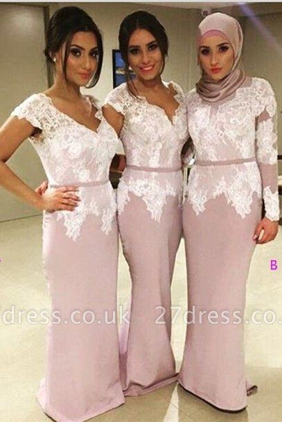 Modern V-neck Mermaid Lace Bridesmaid Dress UK Floor-length