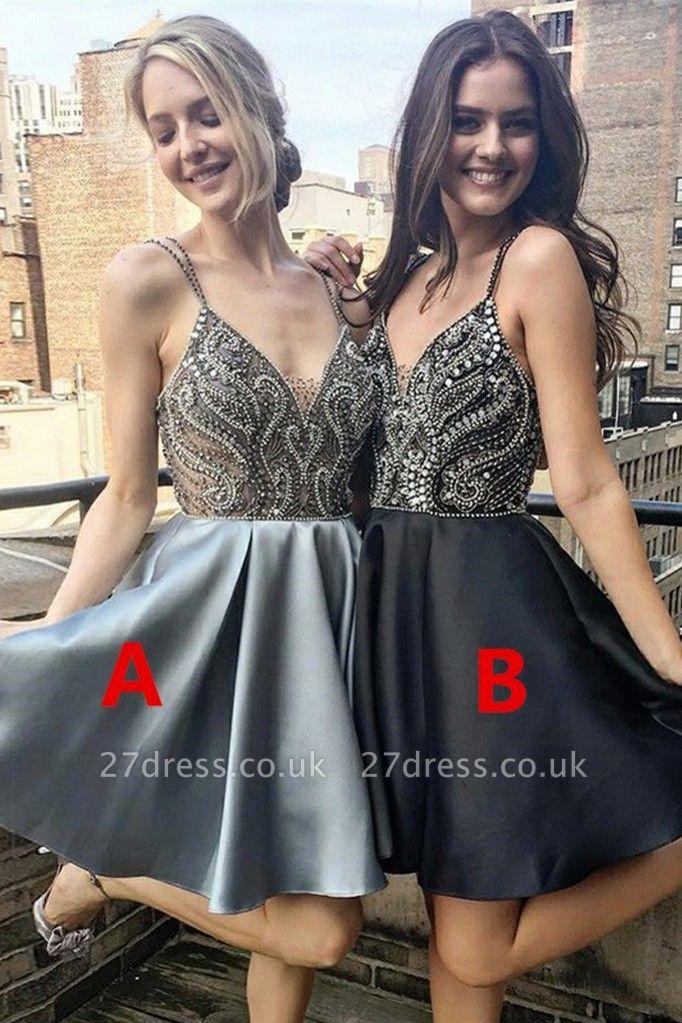 Luxury V-Neck Spaghetti-Straps Homecoming Dress UK | Beadings Mini Short Prom Dress UK